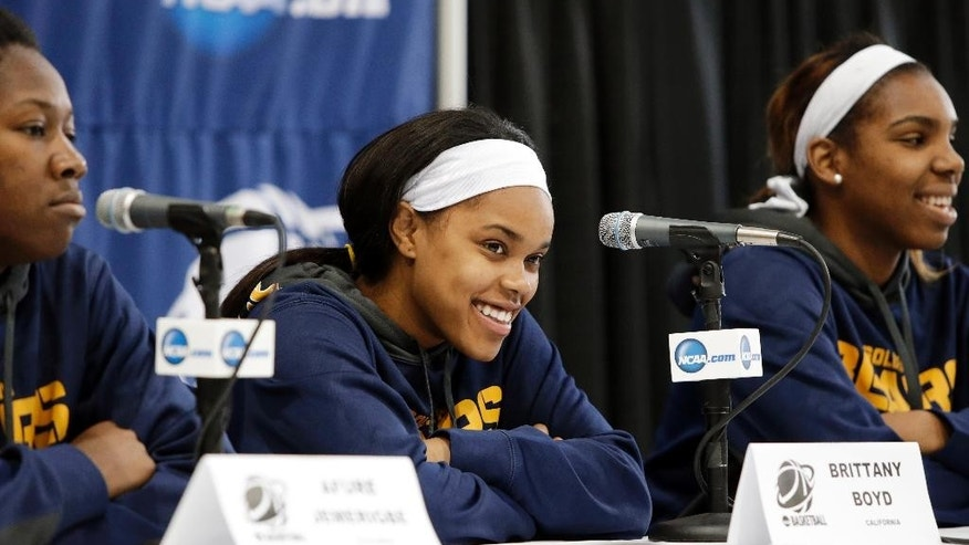 California's Afure Jemerigbe, from left, Brittany Boyd and Reshanda Gray take questions during an NCAA college basketball tournament news conference, Sunday, March 23, 2014, in Waco, Texas. California is scheduled to play Baylor on Monday. (AP Photo/Tony Gutierrez)