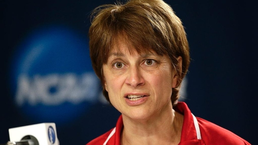 Nebraska head coach Connie Yori answers questions from members of the media during a news conference on Sunday, March 23, 2014, in Los Angeles. Nebraska is scheduled to play BYU in a second-round game of the NCAA women's college basketball tournament on Monday. (AP Photo/Jae C. Hong)
