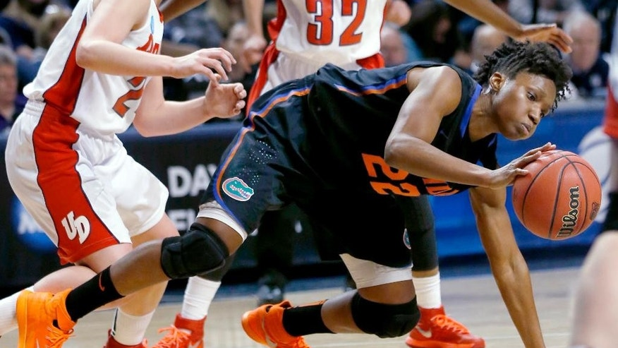 Florida's Kayla Lewis (22) controls the ball in front of Dayton's Andrea Hoover (24) during the first half of a first-round game in the NCAA college basketball tournament on Sunday, March 23, 2014, in State College, Pa. (AP Photo/Keith Srakocic)