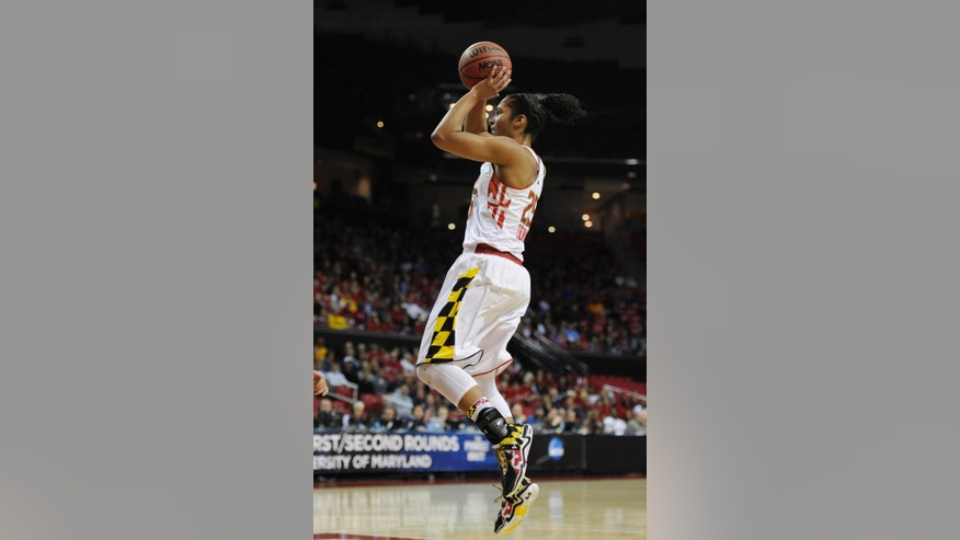 Maryland's Alyssa Thomas shoots against Army during the first half of the first round of the NCAA women's college basketball tournament on Sunday, March 23, 2014, in College Park, Md. (AP Photo/Gail Burton)