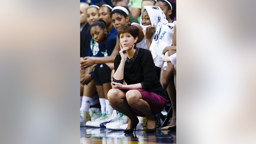 Notre Dame head coach Muffet McGraw watches her team play against Robert Morris during the second half in a first-round game in the NCAA women's college basketball tournament, Saturday, March 22, 2014, in Toledo, Ohio. Notre Dame defeated Robert Morris 93-42. (AP Photo/Rick Osentoski)
