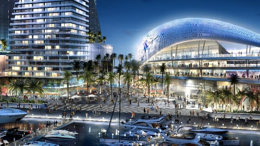 In this artist rendering provided by 360 Architecture and Arquitectonica on Monday, March 24, 2014, shows the proposed soccer stadium recommended for the Port of Miami, in Miami. David Beckham's architects have recommended the site for the Major League Soccer expansion team that will be owned by the former English national team captain. The plan announced Monday would have a 25,000-seat, open-air stadium with views of the bay and the downtown skyline. (AP Photo/360 Architecture and Arquitectonica)