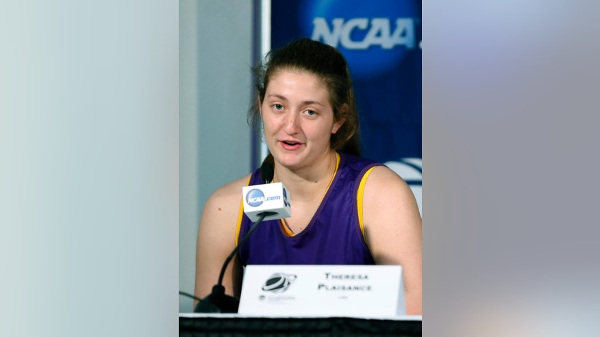 LSU forward Theresa Plaisance answers a question at a news conference prior to practice at the NCAA women's college basketball tournament in Baton Rouge, La., Monday, March 24, 2014. LSU faces West Virginia in a second-round game on Tuesday. (AP Photo/Rogelio V. Solis)
