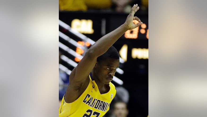 California's Jabari Bird celebrates a score against Arkansas in the second half of an NCAA college basketball game in the NIT tournament Monday, March 24, 2014, in Berkeley, Calif. (AP