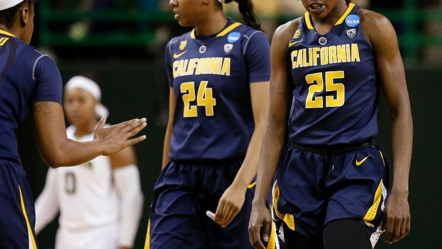 California's  Courtney Range (24) and Gennifer Brandon (25) walk back up court during a time out late in the second half of a second-round game against Baylor in the NCAA women's college basketball tournament, Monday, March 24, 2014, in Waco, Texas. Baylor won 75-56. (AP Photo/Tony Gutierrez)