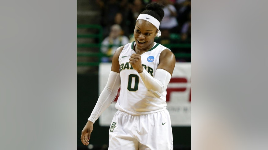 Baylor's Odyssey Sims (0) celebrates after scoring late in the second half of a second-round game against California in the NCAA women's college basketball tournament, Monday, March 24, 2014, in Waco, Texas. Baylor won 75-56. (AP Photo/Tony Gutierrez)