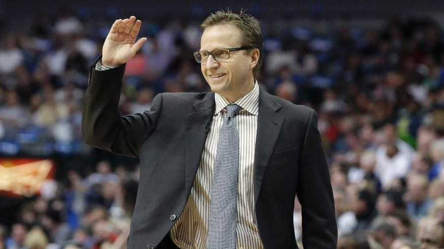 Oklahoma City Thunder coach Scott Brooks reacts to a call during the first half of an NBA basketball game against the Dallas Mavericks on Tuesday, March 25, 2014, in Dallas. (AP Photo/LM Otero)