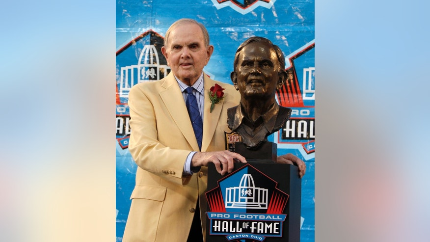 FILE - In this Aug. 8, 2009, file photo, founder and owner of the Buffalo Bills, Ralph Wilson Jr., stands with his bronze bust during the Pro Football Hall of Fame induction ceremony at the Pro Football Hall of Fame, Saturday, Aug. 8, 2009, in Canton, Ohio. Bills owner Wilson Jr. has died at his home in Grosse Pointe Shores, Mich., Tuesday, March 25, 2014. He was 95. Bills president Russ Brandon made the announcement at the NFL winter meetings in Orlando, Fla. Wilson Jr. was one of the original founders of the American Football League and owned the Bills for the last 54 years. (AP Photo/Tony Dejak, File)
