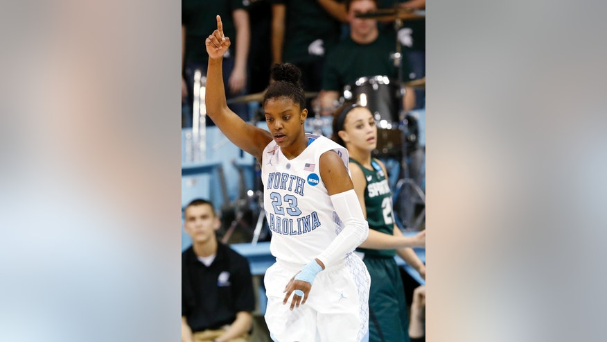 North Carolina Diamond DeShields gestures during the first half of a second-round game against Michigan State at the NCAA college basketball tournament in Chapel Hill, N.C. Tuesday, March 25, 2014. (AP Photo/Ellen Ozier)