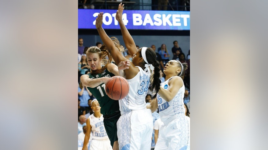 Michigan State's Annalise Pickrel, left, looks to make a pass under pressure from North Carolina's Xylina McDaniel (34) and Allisha Gray during the first half of a second-round game of the NCAA college basketball tournament in Chapel Hill, N.C. Tuesday, March 25, 2014. (AP Photo/Ellen Ozier)