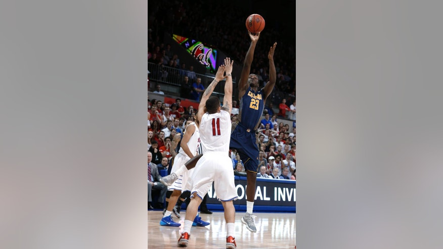 California guard Jabari Bird (23) shoots as SMU guard Nic Moore (11) defends during the first half of an NCAA college basketball game in the quarterfinals of the NIT Wednesday, March 26, 2014, in Dallas. (AP Photo/Sharon Ellman)