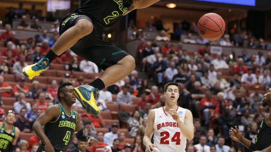 Baylor forward Rico Gathers (2) dunks against Wisconsin during the second half of an NCAA men's college basketball tournament regional semifinal, Thursday, March 27, 2014, in Anaheim, Calif. (AP Photo/Jae C. Hong)
