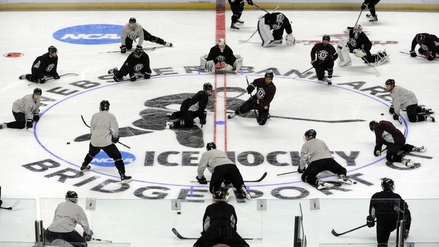 The Union College men's ice hockey team practices at Webster Bank Arena in Bridgeport, Conn. Thursday, March 27, 2014. No. 1 Union will play No. 4 Vermont in an Eastern Regional NCAA match on Friday in Bridgeport.  (AP Photo/The Connecticut Post,  Ned Gerard) MANDATORY CREDIT