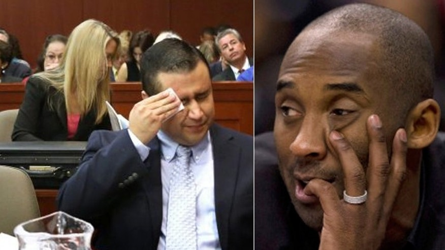 NBA superstar Kobe Bryant (r.) said his opinion on the trial of George Zimmerman (l.) in the shooting of Trayvon Martin was not based on race. (AP)