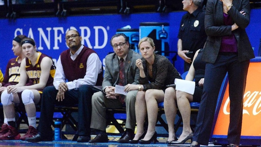 Minnesota head coach, Pam Borton watches her team in the final minutes of their 70-62 loss to South Dakota State in the third round WNIT basketball game at Frost Arena in Brookings, S.D., Thursday, March 27, 2014.  (AP Photo/Argus Leader, Elisha Page) NO SALES