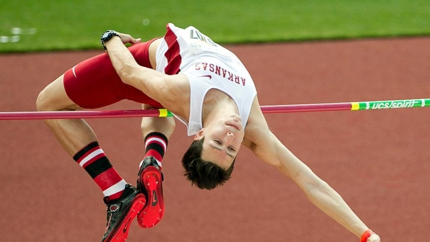 Dwayne Golbek of Arkansas competes in the high jump at the Texas Relays at Mike A. Myers Stadium in Austin, Texas, on Friday, March 28, 2014.   (AP Photo/Austin American-Statesman, Jay Janner) AUSTIN CHRONICLE OUT, COMMUNITY IMPACT OUT, MAGS OUT; NO SALES; INTERNET AND TV MUST CREDIT PHOTOGRAPHER AND STATESMAN.COM