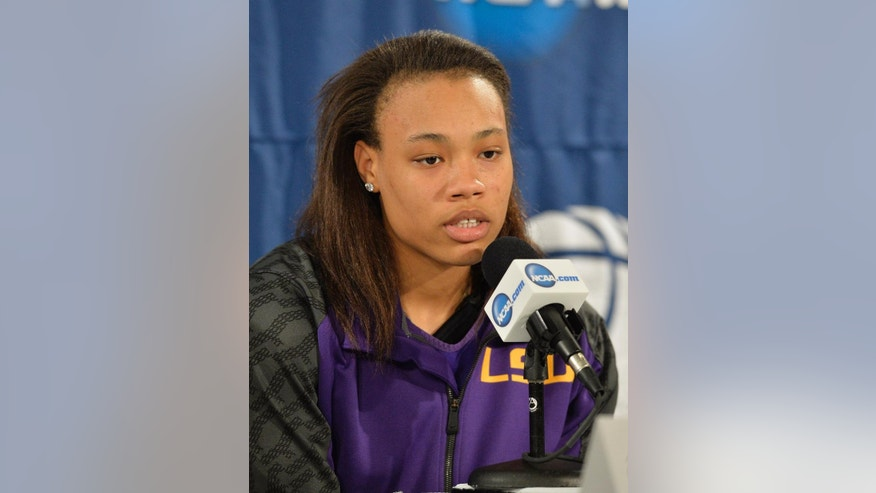 LSU's Danielle Ballard answers questions during a news conference at the NCAA college basketball tournament in Louisville, Ky., Saturday, March 29, 2014. LSU plays Louisville in a regional semifinal on Sunday. (AP Photo/Timothy D. Easley)
