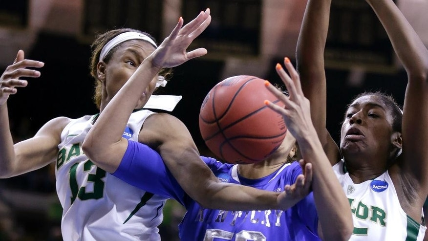 Kentucky center Azia Bishop (50), center, battles for a rebound against Baylor forward Nina Davis (13), left, and center Khadijiah Cave (505 during the second half of a regional semifinal in the NCAA college basketball tournament at the Purcell Pavilion in South Bend, Ind., Saturday, March 29, 2014.  Baylor won 90-72. (AP Photo/Nam Y. Huh)