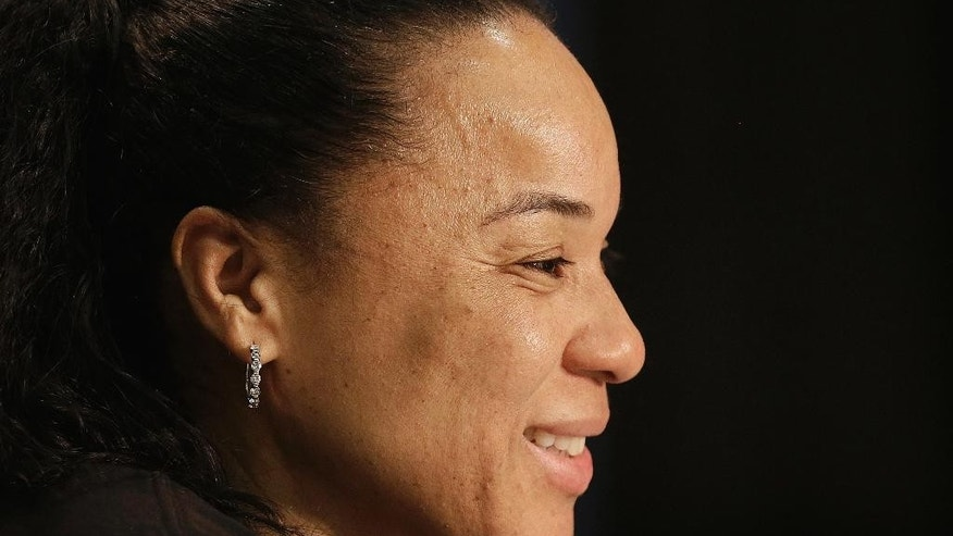 South Carolina head coach Dawn Staley speaks during a news conference at the NCAA college basketball tournament in Stanford, Calif., Saturday, March 29, 2014. South Carolina plays North Carolina in a regional semifinal on Sunday. (AP Photo/Jeff Chiu)
