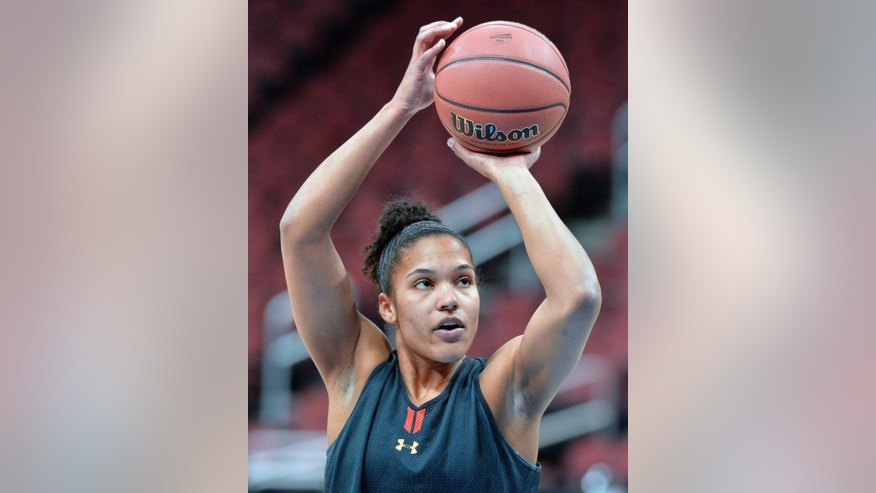 Maryland's Alyssa Thomas shoots during practice at the NCAA college basketball tournament in Louisville, Ky., Saturday, March 29, 2014. Tennessee plays Maryland in a regional semifinal on Sunday.  (AP Photo/Timothy D. Easley)