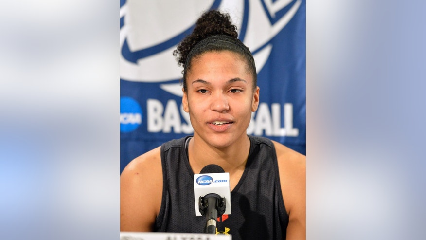 Maryland's Alyssa Thomas speaks during a news conference at the NCAA college basketball tournament in Louisville, Ky., Saturday, March 29, 2014. Maryland plays Tennessee in a regional semifinal on Sunday.  (AP Photo/Timothy D. Easley)
