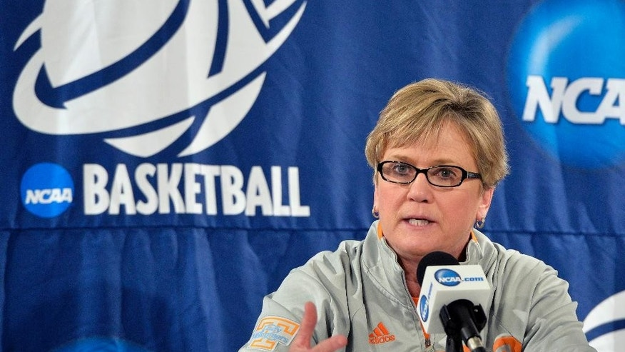 Tennessee head coach Holly Warlick speaks during a news conference, Saturday, March 29, 2014, in Louisville, Ky. Tennessee will play Maryland on Sunday in an NCAA college basketball tournament regional semifinal game.  (AP Photo/Timothy D. Easley)