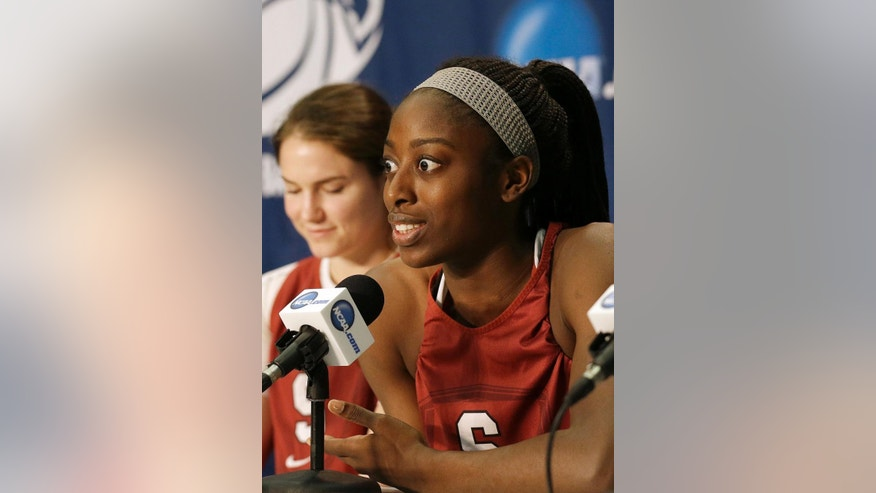 Stanford forward Chiney Ogwumike, right, speaks during a news conference with guard Sara James at the NCAA college basketball tournament in Stanford, Calif., Saturday, March 29, 2014. Stanford plays Penn State in a regional semifinal on Sunday. (AP Photo/Jeff Chiu)