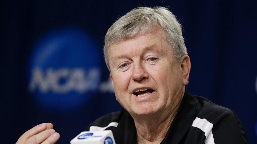 Texas A&M coach Gary Blair speaks on Sunday, March 30, 2014, at a news conference ahead of a regional finals game in the NCAA college basketball tournament in Lincoln, Neb. Texas A&M will play Connecticut in the finals on Monday. (AP Photo/Nati Harnik)