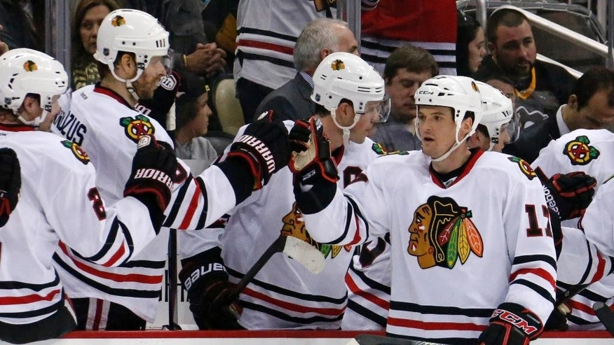 Chicago Blackhawks' Sheldon Brookbank (17) celebrates with teammates as he returns to the bench after scoring in the second period of an NHL hockey game against the Pittsburgh Penguins in Pittsburgh, Sunday, March 30, 2014. (AP Photo/Gene J. Puskar)