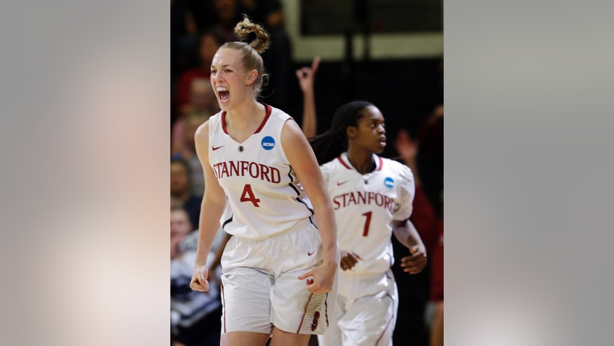 Stanford forward Taylor Greenfield (4) celebrates afer scoring against Penn State during a first half of a regional semifinal at the NCAA college basketball tournament in Stanford , Calif., Sunday, March 30, 2014. (AP Photo/Marcio Jose Sanchez)