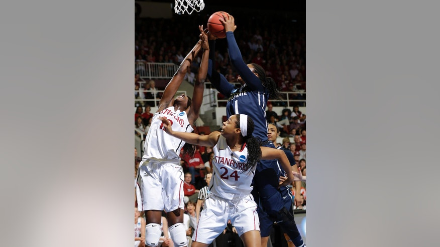 Stanford forward Chiney Ogwumike, left, forward Erica McCall (24) and Penn State forward Candice Agee (1) battle for a rebound during a first half of a regional semifinal at the NCAA college basketball tournament in Stanford , Calif., Sunday, March 30, 2014. (AP Photo/Marcio Jose Sanchez)