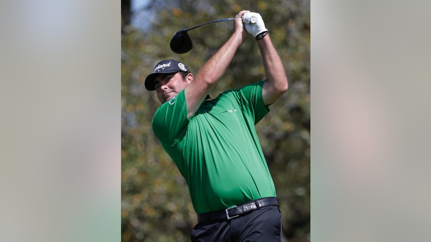 Steven Bowditch, of Australia, hits his drive on the second hole during the final round of the Texas Open golf tournament on Sunday, March 30, 2014, in San Antonio. (AP Photo/Eric Gay)