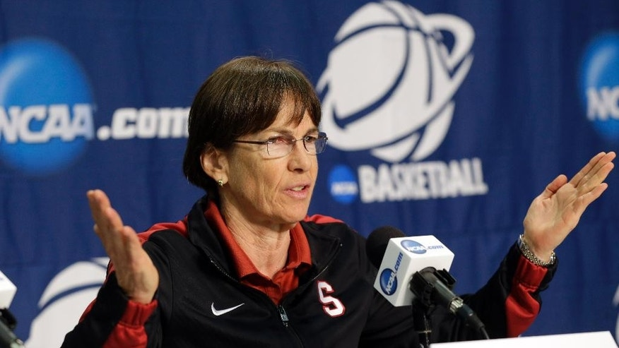 Stanford head coach Tara VanDerveer answers questions during a news conference at the NCAA college basketball tournament on Monday, March 31, 2014, in Stanford, Calif. Stanford plays North Carolina in a regional final on Tuesday.  (AP Photo/Marcio Jose Sanchez)