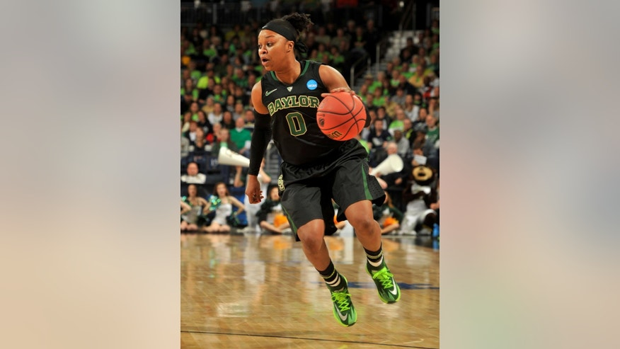 Baylor guard Odyssey Sims puts up a shot in the first half of their NCAA women's college basketball tournament regional final game at the Purcell Pavilion in South Bend, Ind Monday March 31, 2014. (AP Photo/Joe Raymond)