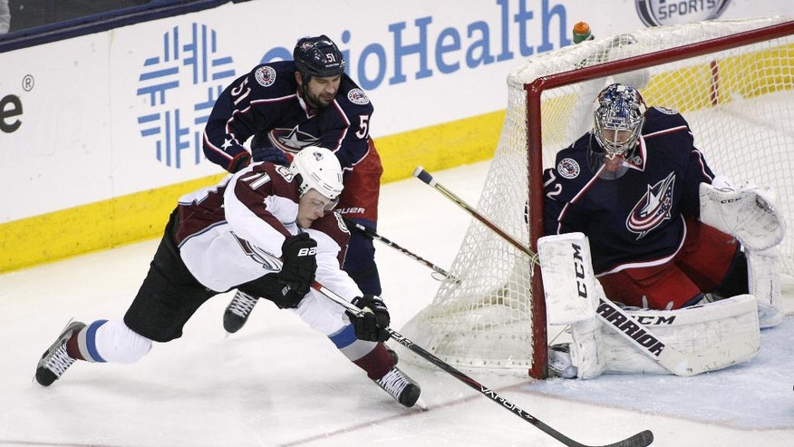 Columbus Blue Jackets' Fedor Tyutin (51) pushes Colorado Avalanche's Jamie McGinn (11) from behind as he tries to score on goalie Sergei Bobrovsky during the third period of an NHL hockey game, Tuesday, April 1, 2014, in Columbus, Ohio. (AP Photo/Mike Munden)