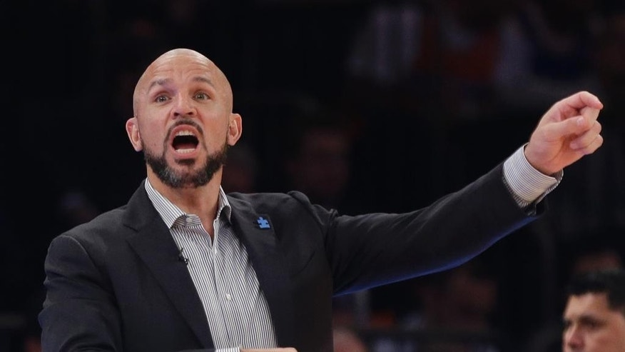 Brooklyn Nets head coach Jason Kidd calls out to his team during the first half of an NBA basketball game against the New York Knicks Wednesday, April 2, 2014, in New York.  (AP Photo/Frank Franklin II)