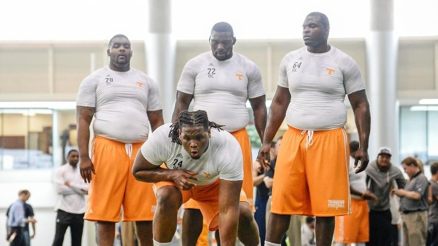 "In this photo provide by the University of Tennessee Athletics department, Tennessee offensive tackle Antonio ""Tiny"" Richardson (74) gets set to run a drill during the school's NCAA college football pro day Wednesday, April 2, 2014, in Knoxville, Tenn. Behind Richardson are offensive linemen Alex Bullard (78), Zach Fulton (72), and James Stone (64). (AP Photo/Tennessee Athletics, Donald Page)"