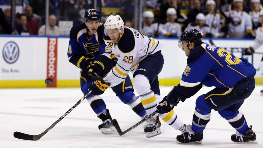 Buffalo Sabres' Zemgus Girgensons (28), of Latvia, chases after a loose puck alongside St. Louis Blues' Dmitrij Jaskin, left, of Russia, and Kevin Shattenkirk, right, during the first period of an NHL hockey game on Thursday, April 3, 2014, in St. Louis. (AP Photo/Jeff Roberson)