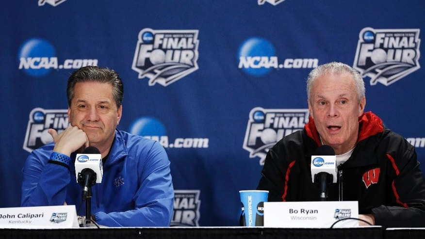 Wisconsin head coach Bo Ryan, right, and Kentucky head coach John Calipari participate in a joint news conference for their NCAA Final Four tournament college basketball semifinal game Thursday, April 3, 2014, in Dallas. Wisconsin plays Kentucky on Saturday, April 5, 2014. (AP Photo/David J. Phillip)