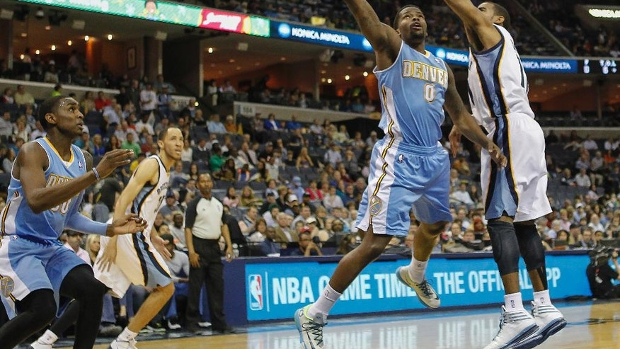 Denver Nuggets guard Aaron Brooks (0) goes to the basket against Memphis Grizzlies guard Mike Conley (11) in the first half of an NBA basketball game Friday, April 4, 2014, in Memphis, Tenn. (AP Photo/Lance Murphey)