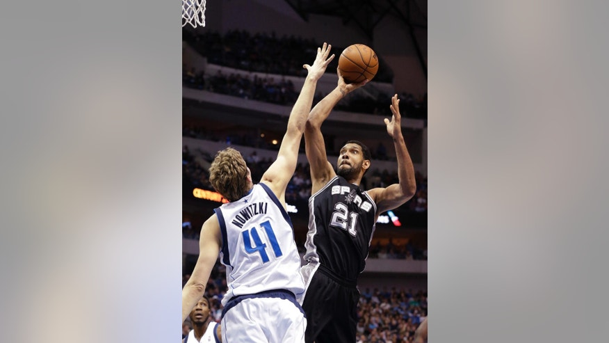 San Antonio Spurs forward Tim Duncan (21) shoots against Dallas Mavericks forward Dirk Nowitzki (41) during the first half an NBA basketball game Thursday, April 10, 2014, in Dallas. (AP Photo/LM Otero)