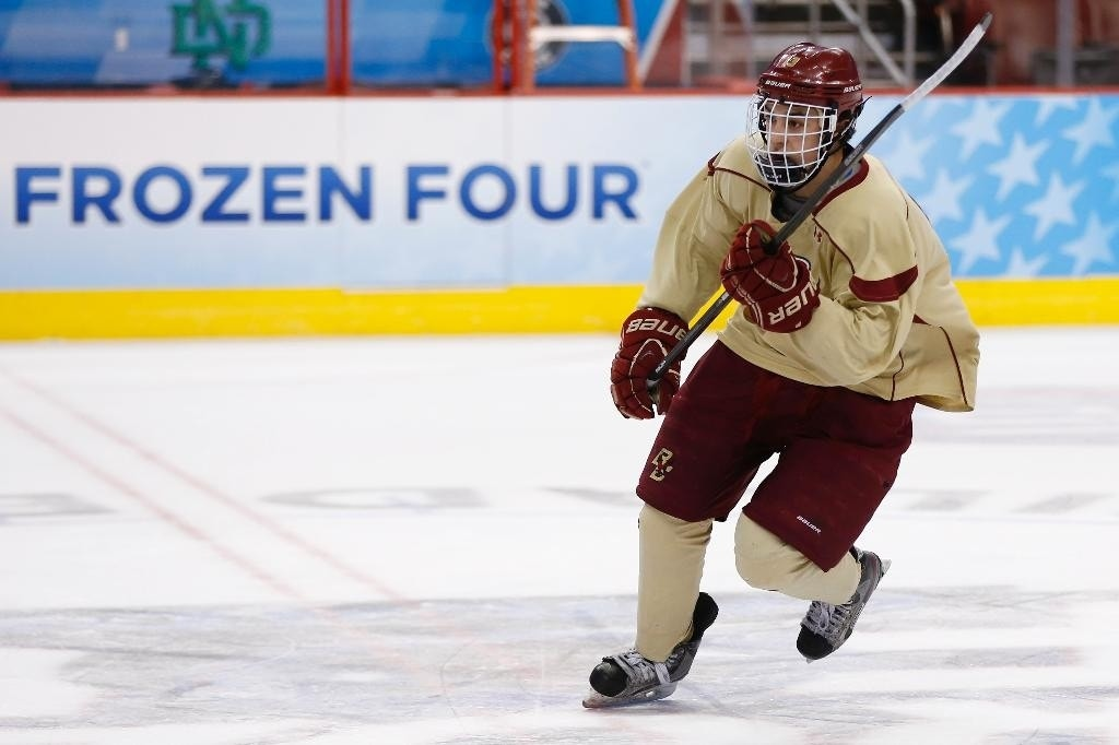 Boston College's Johnny Gaudreau wins Hobey Baker Award as ...