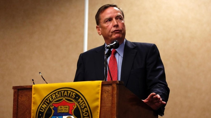 Edward L. Dowd, Jr., of the Dowd Bennett law firm, speaks during a news conference Friday, April 11, 2014, in Rolla, Mo. The news conference was held to discuss the firm's review of the University of Missouri's response to a case involving school swimmer Sasha Menu Courey, who killed herself 16 months after an alleged off-campus rape by as many as three football players in February 2010.  (AP Photo/Jeff Roberson)