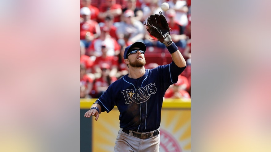 Tampa Bay Rays second baseman Ben Zobrist catches a pop fly hit by Cincinnati Reds' Chris Heisey in the eighth inning of a baseball game, Saturday, April 12, 2014, in Cincinnati. Tampa Bay won 1-0. (AP Photo/Al Behrman)
