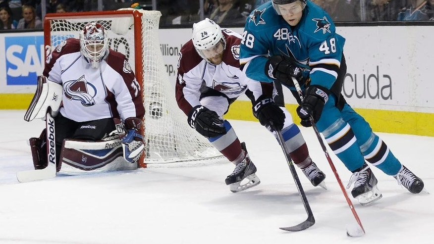 San Jose Sharks' Tomas Hertl, right, of the Czech Republic, is defended by Colorado Avalanche's Marc-Andre Cliche (24) as goalie Jean-Sebastien Giguere, left, watches during the first period of an NHL hockey game on Friday, April 11, 2014, in San Jose, Calif. (AP Photo/Marcio Jose Sanchez)