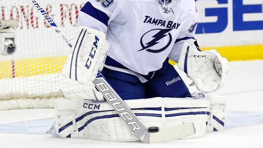 Tampa Bay Lightning goalie Anders Lindback (39), from Sweden, deflects a shot in the first period of an NHL hockey game against the Washington Capitals, Sunday, April 13, 2014, in Washington. (AP Photo/Alex Brandon)