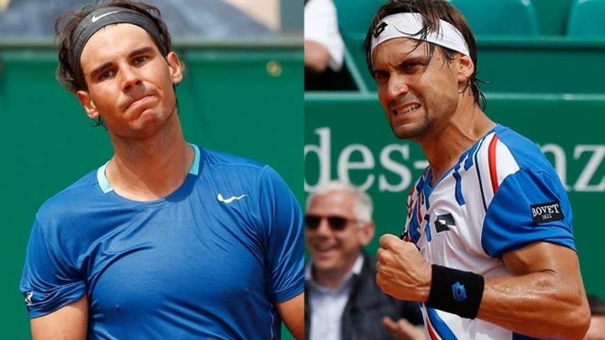 Top-ranked Rafael Nadal lost to Spanish compatriot (Right) David Ferrer 7-6 (1), 6-4 in the quarterfinals on Friday.