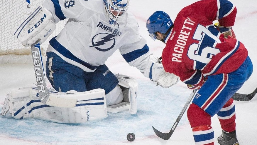 Montreal Canadiens' Max Pacioretty takes a shot on Tampa Bay Lightning's goalie Anders Lindback during first period of the first round NHL Stanley Cup playoff hockey in Montreal, Sunday, April 20, 2014. (AP Photo/The Canadian Press, Graham Hughes)
