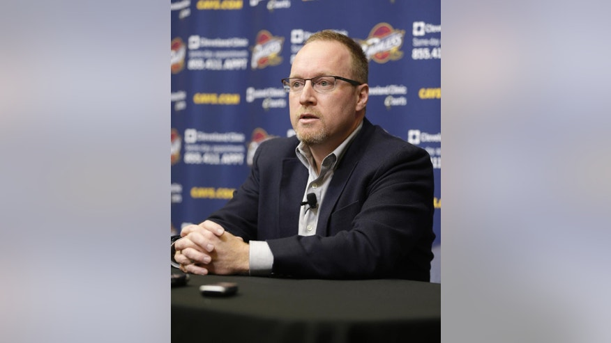 Cleveland Cavaliers interim general manager David Griffin answers questions during a news conference Tuesday, April 22, 2014, in Independence, Ohio. Unsure of his own future, Griffin discussed Cleveland's disappointing season, which ended for the fourth straight year shy of the NBA playoffs. (AP Photo/Tony Dejak)