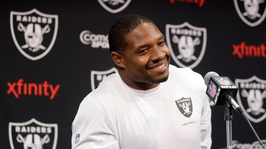 Oakland Raiders running back Maurice Jones-Drew answers questions during an NFL football news conference on Tuesday, April 22, 2014, in Alameda, Calif. (AP Photo/Marcio Jose Sanchez)